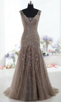 wedding photo - Grey Evening Dress Top Sexy Mermaid V Neck Sweep Train Tulle Gray Prom Dresses From Dresscomeon