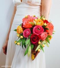 wedding photo - Crepe Paper Neon Wedding Bouquet