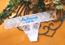 198bce2411e6e Monogram Bridal Lace Panties - Personalized Bridal Thong- Bridal Lingerie-Customized  Bride Panties- Honeymoon gift