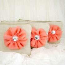 wedding photo - SET of  3 - Rustic linen chiffon flower wedding clutches, linen bridesmaids clutches, purse and cosmetic bags (Ref: CL883)