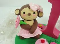 wedding photo - Customise Lovely  Monkey Girl CakeTopper with Grass Base for Kids Birthday or Baby Shower