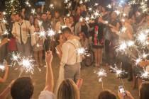 wedding photo - Sparkler First Dance At Casual Backyard Wedding