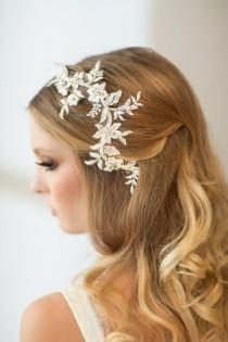 wedding photo - Wedding Hair Vine, Lace Head Piece, Bridal Hair Accessory - New