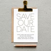 wedding photo - Printable Wedding Save the Date PDF / 'Modern Minimal' Simple Elegant Card / Silver Grey Gray / Digital File Only / Printing Also Available