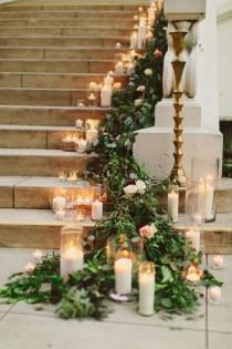 wedding photo - Garland And Candles On Stairs