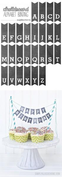 wedding photo - Printable Chalkboard Letters Cake Bunting