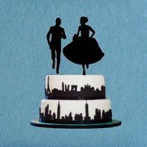 wedding photo - Running Cake Topper,Funny Bride and Groom Cake Topper,Wedding Cake Topper Silhouette,Modern Cake Topper,Unique Wedding Cake Topper