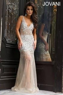 wedding photo - Silver And Nude Sheath Prom Dress 90736
