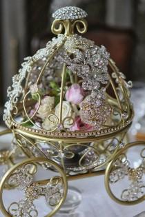 wedding photo - Inspired By Disney Cinderella's Fairytale Wedding Carriage Coach Table Centerpiece With Bling