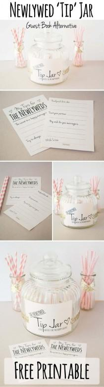 "wedding photo - ""Leave Us A Tip"" Jar - FREE PRINTABLE Guestbook Alternative"