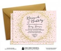 wedding photo - BRUNCH & BUBBLY INVITATION Bridal Shower Invite Blush Pink Gold Glitter Sparkle Calligraphy Elegant Free Shipping or DiY Printable- Remy