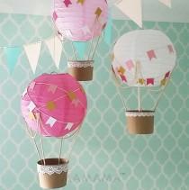 wedding photo - Whimsical Hot Air Balloon Decoration DIY Kit - Hot Pink And Gold - Nursery Decor - Travel Theme Nursery - Set Of 3
