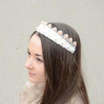 wedding photo - Baroque style Bridal Crown , Bridal Lace Tiara,  bridal hair accessories, wedding crystal headband,  wedding hair