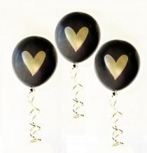 wedding photo - Bridal Shower Balloons (6ct) - Gold Heart Balloons, Wedding Balloons, Gold Metallic Balloon, Bachelorette Party Decor (EB3110HRT)