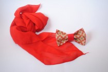 wedding photo - Red bow tie Embroidered bowtie for red wedding Groom's bowtie Perfect for groomsmen too Bridal gift Weddingday Chic and nice tie Cool idea