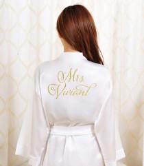 37cabe1b4b41c Gold Glitter Bridal Robe - Bride Bathrobe Satin Cover - Bridal Dressing  Robe - Gold Glitter Wedding - Bridal Lingerie Shower Gift