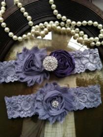 wedding photo - Wedding Garter - Eggplant purple garter - Garters - Toss Garter - Grey Lace Garter Set - Bridal Garters - Vintage - Grey - Gray - Rhinestone