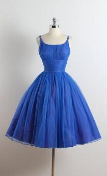 wedding photo - Bleu Bijou . Vintage 1950s Dress . Vintage Party Dress . 5676