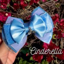wedding photo - Blue Cindy Inspired Hair Bow with Carriage Charm