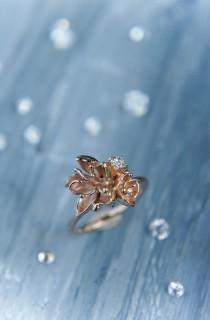 wedding photo - Unique engagement ring, 14K rose gold ring, diamond ring, cherry blossom ring, flower engagement ring, proposal ring, one of a kind ring