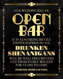 wedding photo - Open Bar Wedding Sign. Great Gatsby Themed Party Supplies. Roaring 20s Printable Wedding Bar Sign. Black And Gold Print Party Decorations