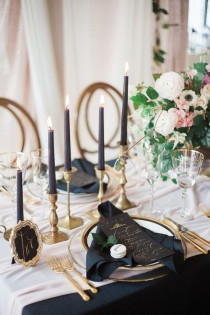 wedding photo - Romantic Pink And Black Wedding Decor