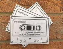 wedding photo - 20 Wedding Song Request White Cards Vintage Retro Shabby Chic Cassette Tape