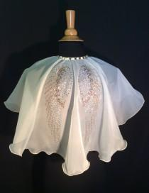 wedding photo - Angel wing ivory Bridal Voile Capelet Cape fairy wings