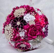 "wedding photo - Fabric Wedding Bouquet, Brooch bouquet ""Scarlet""  White and Fuchsia 9"""