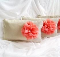 wedding photo - SET of  7 - Rustic linen chiffon flower wedding clutches, linen bridesmaids clutches, purse and cosmetic bags (Ref: CL881)