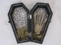 wedding photo - READY to SHIP Halloween Gothic Aged Black Coffin Wedding Ring Box Ring Bearers Pillow with Skeleton Hand Skull