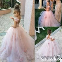 wedding photo - 2016 Pink Lovely Flower Girl Dresses Prom Party Girl's Formal Occasion Ball Gown