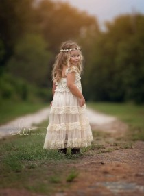 wedding photo - Lace Flower Girl Dress, Flower Girl Dress, Flower Girl Dresses, Country Flower Girl Dress, Lace Girl Dress, Baby Dress, Ivory Lace Dress