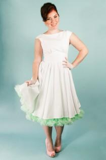 wedding photo - Short White Cotton Knee Length Short Wedding Dress with pockets Gathered Full Circle Skirt and Cap sleeves modest fit and flare rockabilly