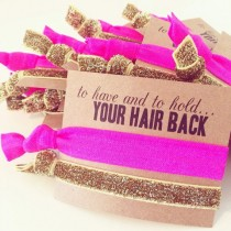 wedding photo - Hot Pink   Gold Glitter Hair Tie Bachelorette Favors