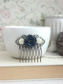 wedding photo - Navy Blue, Dark Greyish Blue Rose, Soft White Daisy Flower Hair Comb, Bridesmaids Gift. Bridal Wedding Comb. Something Blue. Country French