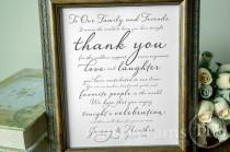 wedding photo - Wedding Reception Thank You Sign - To Our Family & Friends Signage - Matching Table Numbers Avail.- Custom Wedding Guest Thank You Card SS03