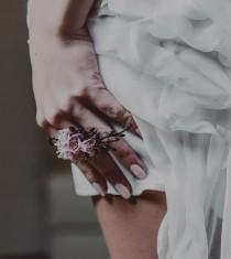wedding photo - Cherry blossom bridal ring - Flower ring - Wedding flower jewelry - Organic form ring