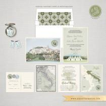 wedding photo - Destination wedding Italy Wedding Invitation Suite South Italian Invitation Puglia Basilicata landscape Olive green wedding -Deposit Payment