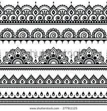 wedding photo - Mehndi, Indian Henna Tattoo Seamless Pattern, Design Elements