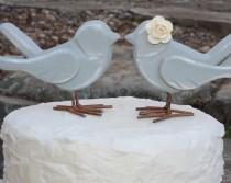 wedding photo - Love Bird Cake Toppers Rustic Shabby Chic Weddings Custom Color