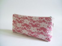 wedding photo - French Rose Clutch, Wedding Lace Clutch, Magenta Purse, Rose Lace Handbag, Bridesmaids Gift Bag, Cherry Lace Bag
