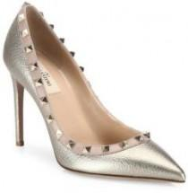 wedding photo - Valentino Rockstud Metallic Leather Point-Toe Pumps