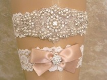 wedding photo - Champagne Wedding Garter Set, Bridal Garter, Pearl And Rhinestone Garter And Toss Garter Set, Light Ivory Lace Garter Set, Lace Garters