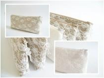 wedding photo - Lace Wedding Clutches, Set of 5, Nude Bridesmaids Bags, Ivory Bridesmaids Bags