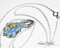 wedding photo - Aurora Borealis Baroque Crystal Necklace Swarovski Crystal Pendant Sparkly Crystal Sterling Silver Cz Bridal Necklace Wedding Jewelry