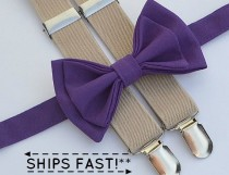 wedding photo - Dark Purple Bow Tie & Beige Suspenders -- Ring Bearer Outfit -- Groomsmen Bow Tie Suspenders
