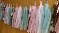 wedding photo - 20 Tassel Tissue Paper Garland, Mint Green, Blush Pink, Party Decoration, Fringe, Birthday, Wedding Decoration, Balloon Tassels, Party, Prop