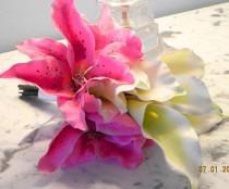 wedding photo - Wedding Bridal Bouquet 2 Pieces Silk Calla Lilies Pink  Stargazer Lilies  White Boutonniere Elegant keepsake Traditional BB#101