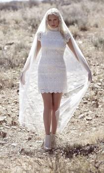 6617e129982 Vintage Inspired HIgh Neck Wedding Dress Crochet Lace Cap Sleeve Short  Ivory Bohemian Gown